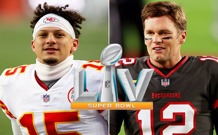 Patrick Mahomes vs Tom Brady in Super Bowl 2021